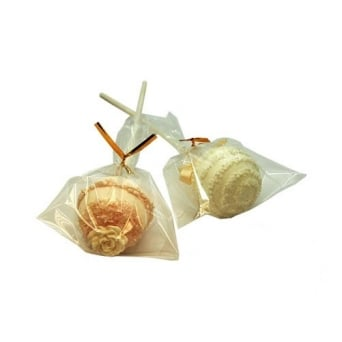 Cake Pop Bags 4 Inch x 6 Inch With Gold Twist Ties