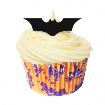 1x Pack Of 12 Edible Halloween Bats Black