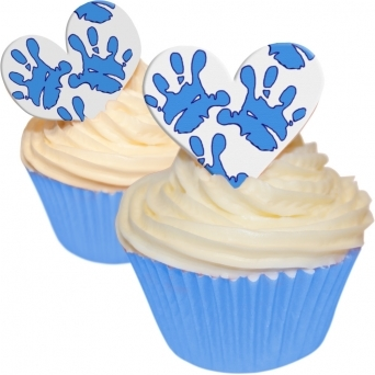 Blue Baby Boy Hands Edible Heart Toppers