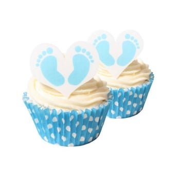 Baby Feet Boy Edible Heart Toppers Pack Of 12
