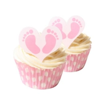 Baby Feet Girl Edible Heart Toppers Pack Of 12
