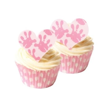 Baby Hands Girl Edible Heart Toppers Pack Of 12