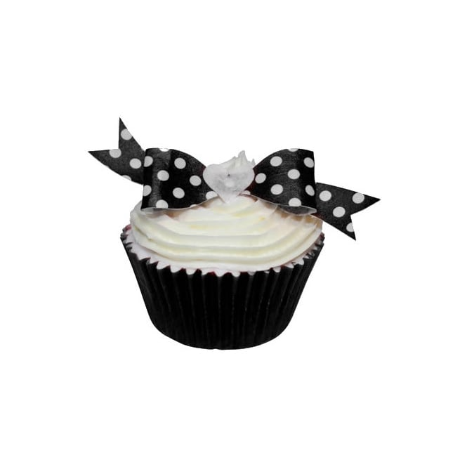 CDA Products Black Polka Dot Edible Bow Toppers Pack of 12