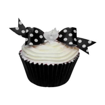 Black Polka Dot Edible Bow Toppers Pack of 12