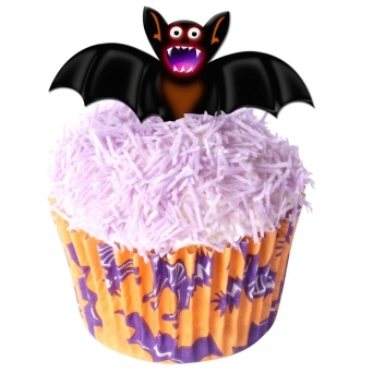 Cartoon Halloween Edible Wafer Bat Toppers - Pack Of 12