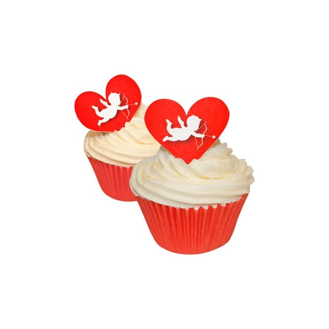 CDA Products  Edible Valentine Toppers Cupid Hearts x 12