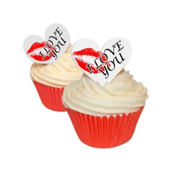 Edible Valentine Toppers Kiss Hearts x 12