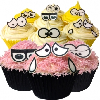 Edible Wafer Cartoon Eyes Cupcake Toppers