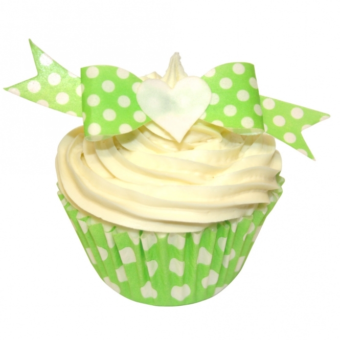 CDA Products Green Polka Dot Edible Bow Toppers Pack of 12