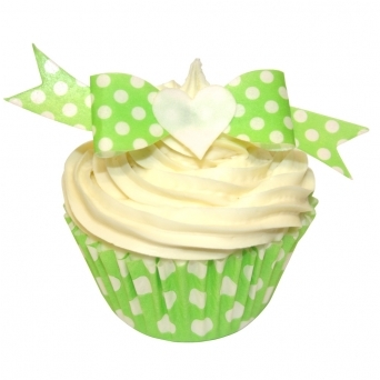 Green Polka Dot Edible Bow Toppers Pack of 12