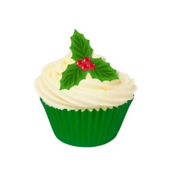 Holly Leaves And Berries Edible Wafer Toppers - Pack Of 12