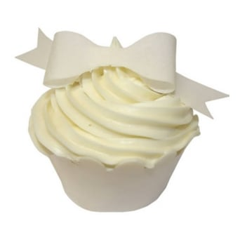 Ivory Edible Bow Toppers Pack of 12