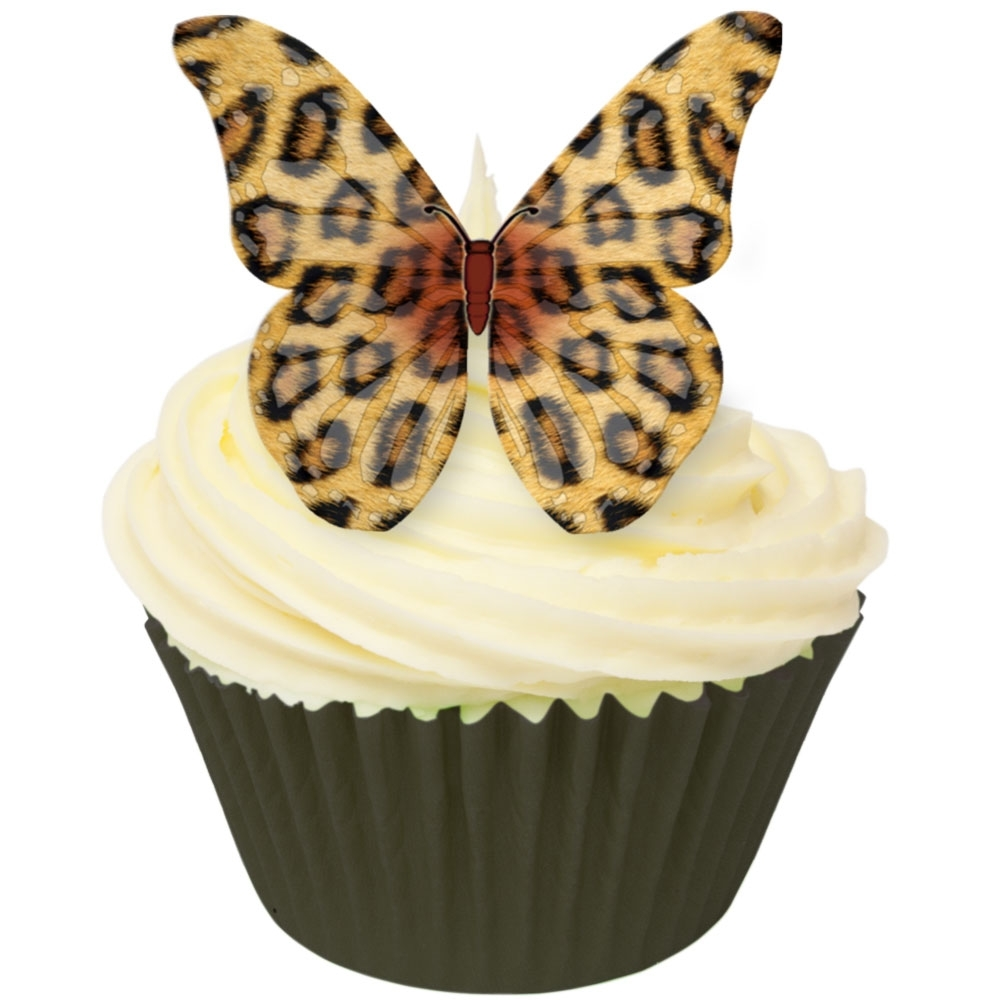 Cda products leopard print edible butterfly topper pack for Animal print edible cake decoration