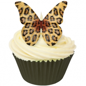 Leopard Print Edible Butterfly Topper - Pack Of 12