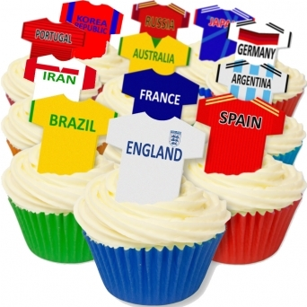 Mixed Football World Cup Edible T Shirt Toppers - Pack Of 12