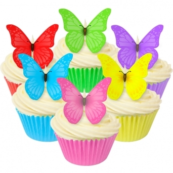 Mixed Vivid Edible Butterfly Toppers - Pack Of 12