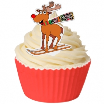 Pack Of 12 Edible Rudolf On Skis Toppers