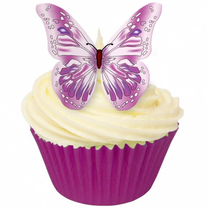 CDA Products  Purple And Pink Edible Butterfly Toppers - Pack Of 12