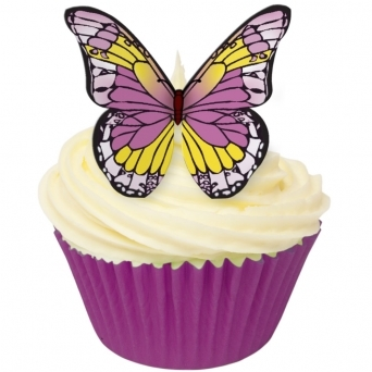Purple And Yellow Edible Butterfly Toppers - Pack Of 12