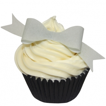 Silver Edible Bow Toppers Pack of 12