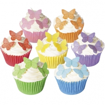 Small Vivid Edible Butterfly Toppers - Pack Of 42