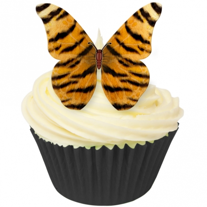 CDA Products  Tiger Print Edible Butterfly Topper - Pack Of 12