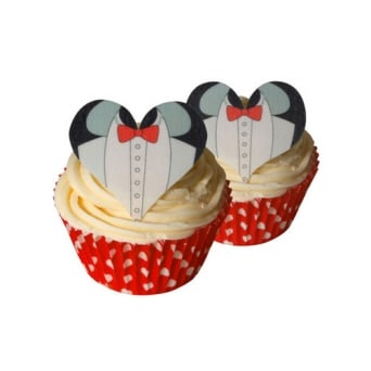 Tuxedo Wedding Edible Heart Toppers Pack Of 12