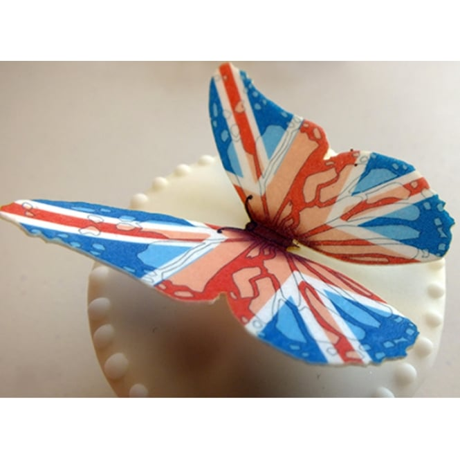 CDA Products  Union Jack Edible Butterfly Topper - Pack Of 12