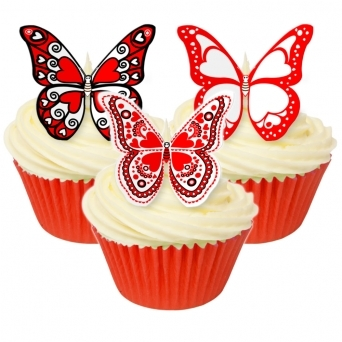 Valentine Print Edible Butterfly Topper - Pack Of 12