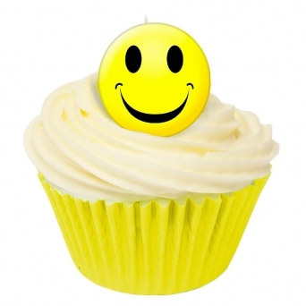 Yellow Smiley Face Edible Toppers - Pack Of 36