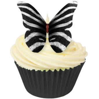 Zebra Print Edible Butterfly Topper - Pack Of 12