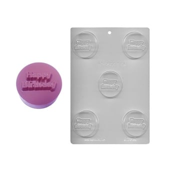 Happy Birthday Chocolate Cookie Mould Holds 5
