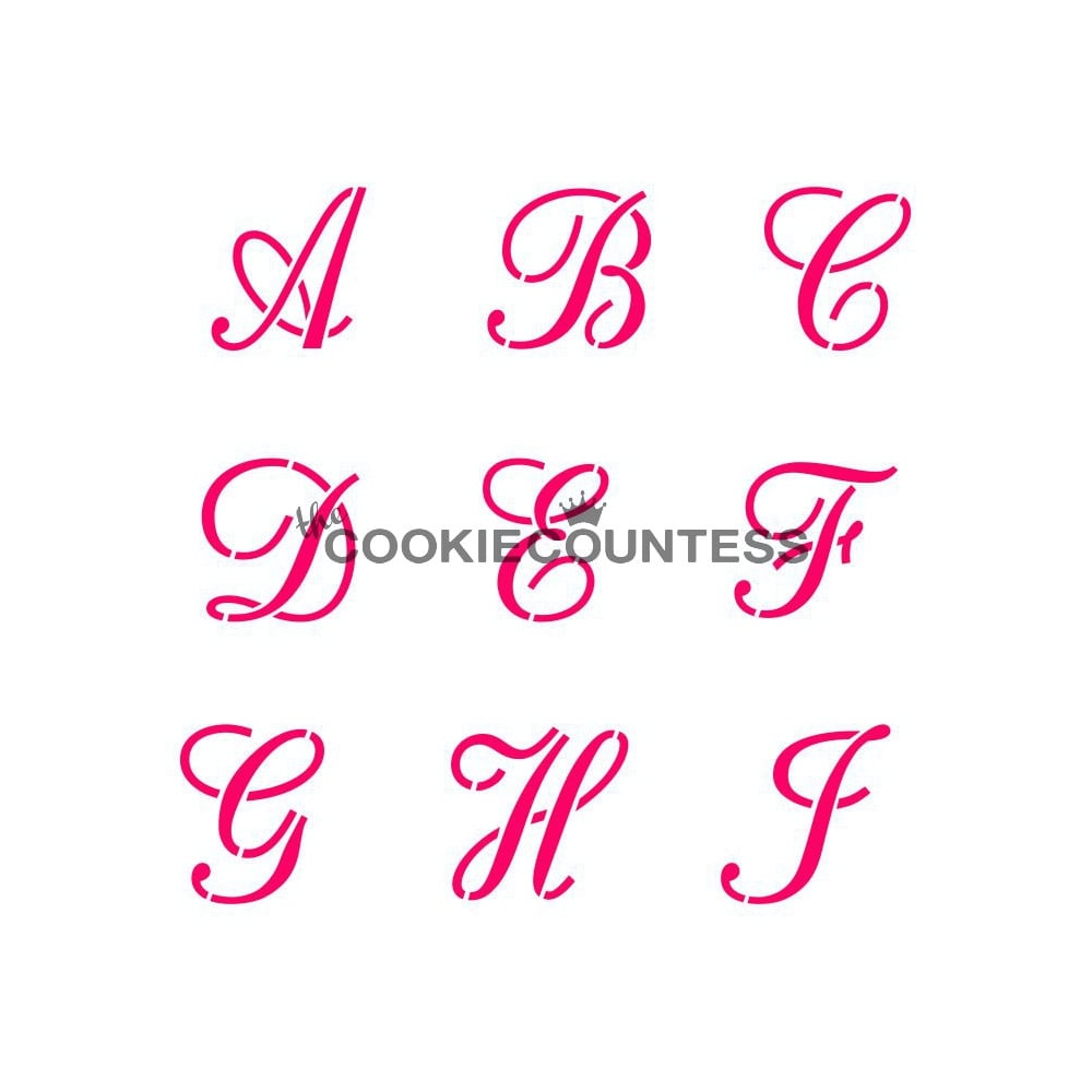 Cake Decorating Stencils Uk : Cookie Countess Alphabet Script Cookie Stencil Set - Tools ...
