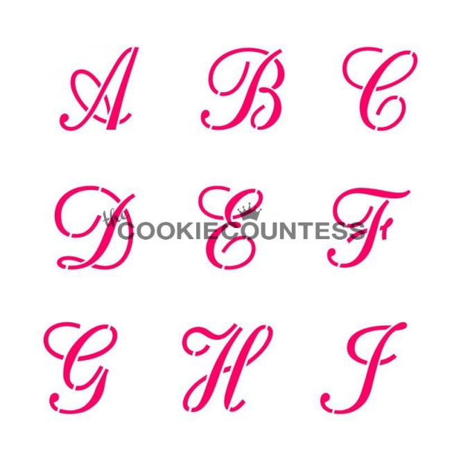 Cookie Countess Alphabet Script Cookie Stencil Set