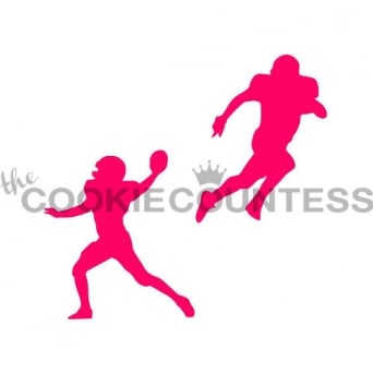 American Football Players Cookie Stencil