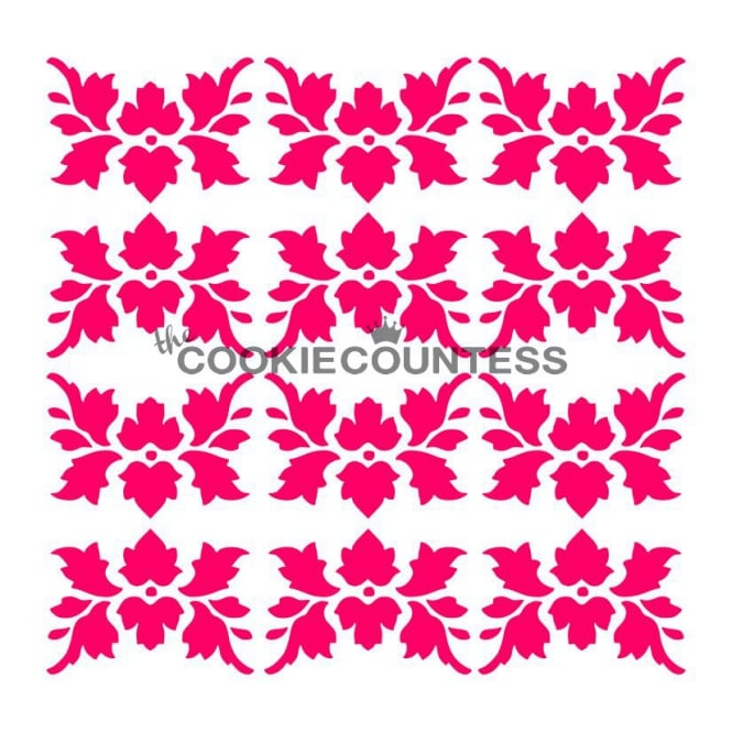 Cookie Countess Autumn Damask Cookie Stencil