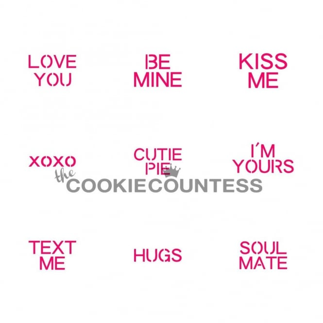 Cookie Countess Conversation Hearts Cookie Stencil