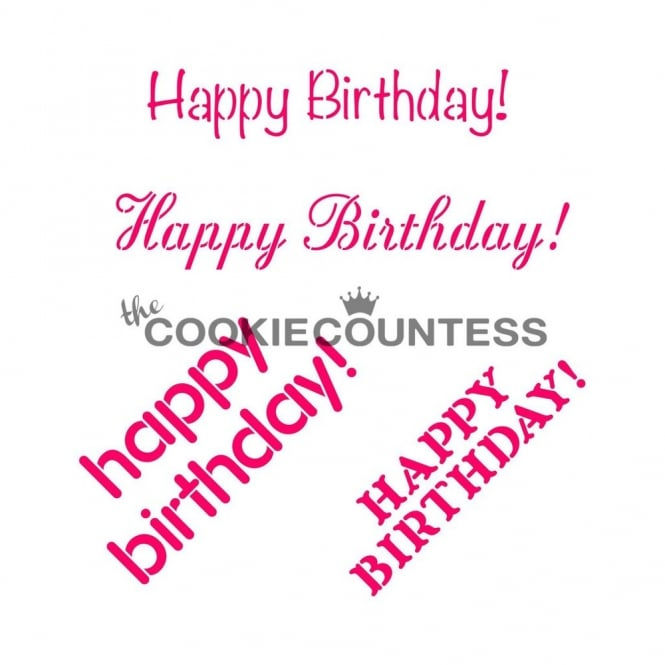Cookie Countess Happy Birthday Phrases Cookie Stencil