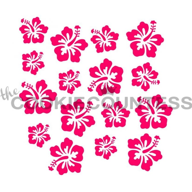 Cookie Countess Hibiscus Flowers Cookie Stencil