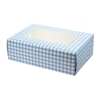 1 Cupcake Muffin Box Gingham Blue Holds 6