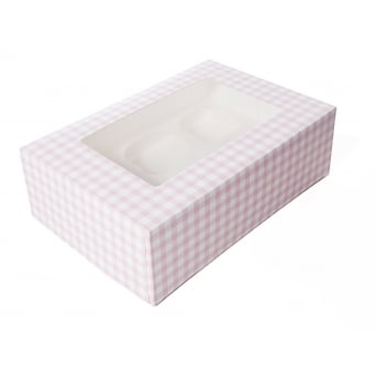 1 Cupcake Muffin Box Gingham Pink Holds 6