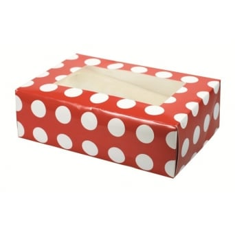 1 Cupcake Muffin Box Polka Dot Red Holds 6