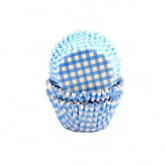 Blue - Gingham Baking Cases x 54 Cups