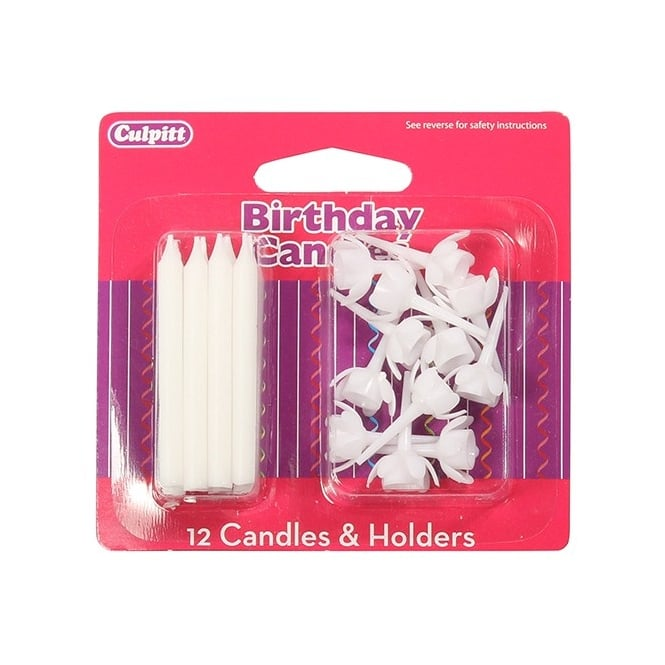 Culpitt Candles and Holders x 12 White
