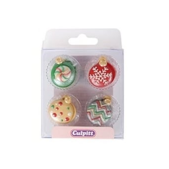 Christmas Baubles Edible Toppers x 12