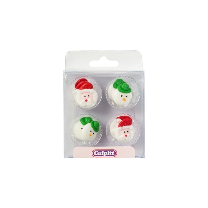 Culpitt Christmas Santa And Snowman Heads Edible Royal Icing Toppers x 12