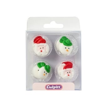 Christmas Santa And Snowman Heads Edible Royal Icing Toppers x 12
