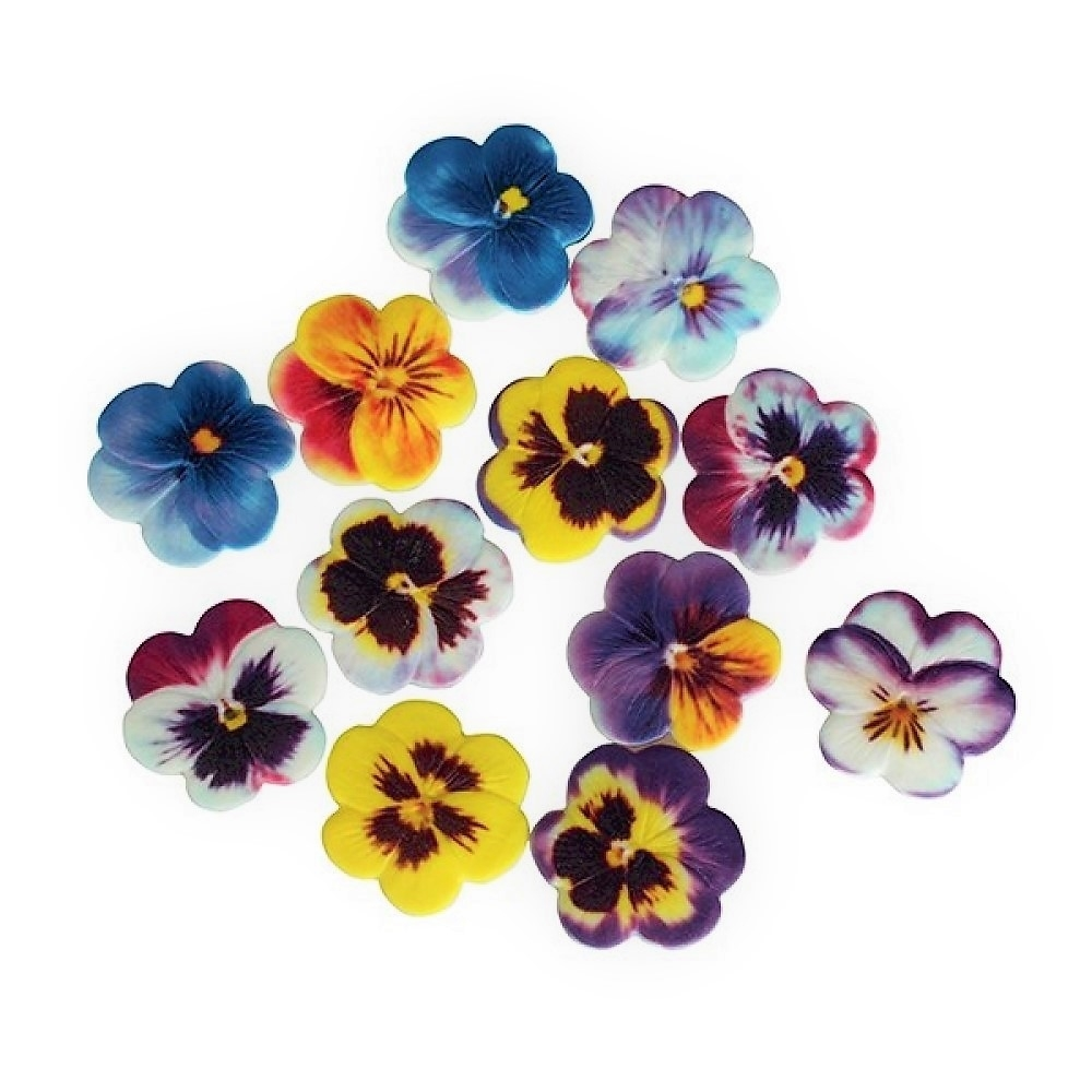 Edible Sugar Soft Pansies x 60   Edible Flower Toppers ...