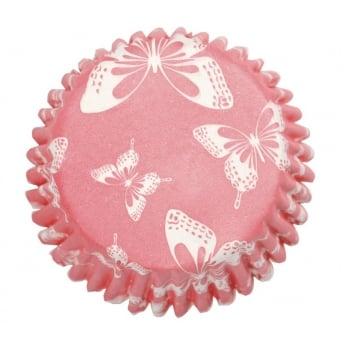 Elegant Dark Pink Butterfly Baking Cases x 54 Cups