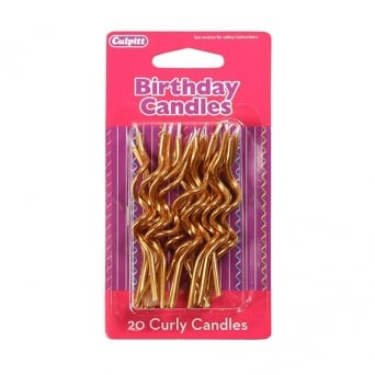 20 Gold Metalic Curly Candles